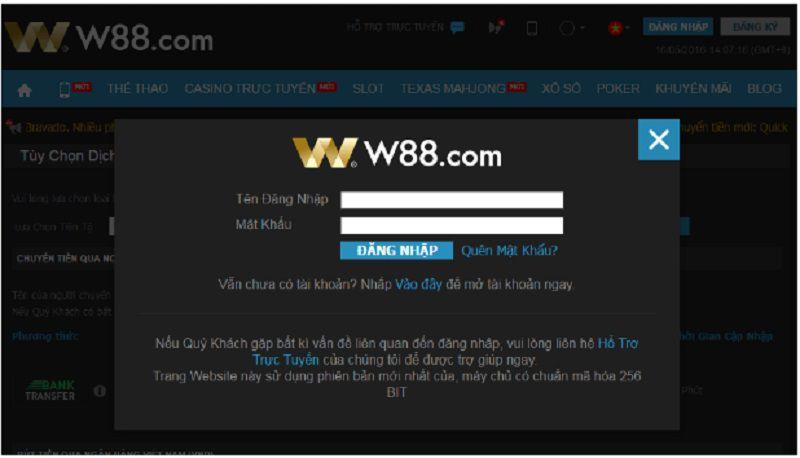 hướng dẫn đăng nhập w88