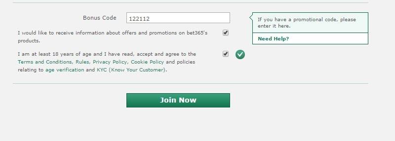 Xác thực đăng ký Bet365